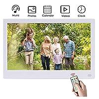 デジタルフォトフレーム13インチIPSスクリーンUSB SDカードスロットおよびリモートコントロールデジタルフォトフレームHD 16:9ワイドスクリーン付きデジタルフォトフレーム,13inches-white