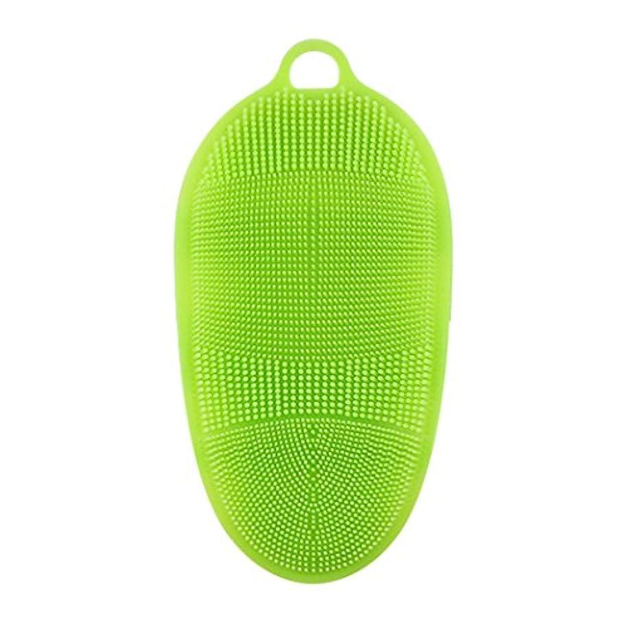 帰る燃料上向きKapmore シリコンブラシ ウォッシュ ボディブラシ 多機能 マッサージ シャワー 肌にやさしい 垢擦り 体洗い 風呂 フットケア 4色選択可能 衛生 角質取り 毛穴清潔 泡立ち (グリーン)