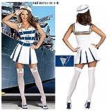 初売り 海上自衛隊帽子!!ハロウィン マリンセーラー服 白い婦人戦士 女海軍 水兵スーツセーラー服 女水兵さんコスプレ 白い婦人戦士帽子+白いTバック+婦人戦士スーツ 3点セット商品