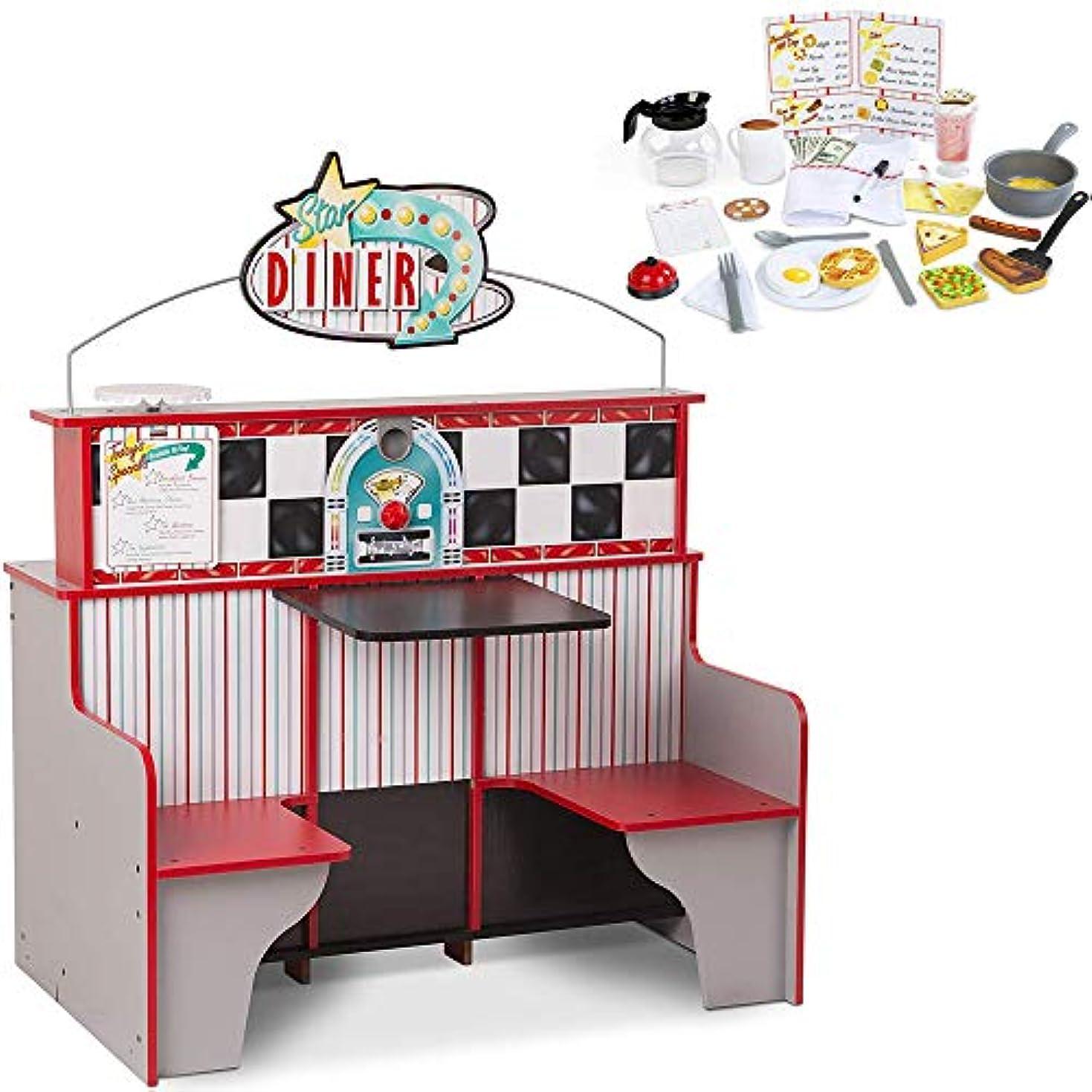 発音つぶす弾力性のあるMelissa and Doug スターダイナー レストランプレイセット & キッチン 木製 ダイナー プレイセット (3951) スターダイナー レストラン プレイセット