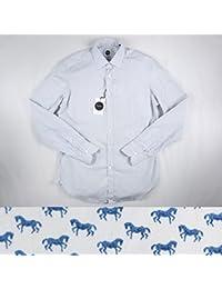 Bagutta 馬柄 長袖シャツ BERLINO03599 slim fit white×blue XL 13193【A13194】 バグッタ [並行輸入品]