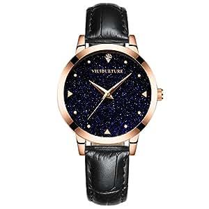 腕時計 レディース ブランド 人気 革バンド 星空 ファッション カジュアル 時計 女性