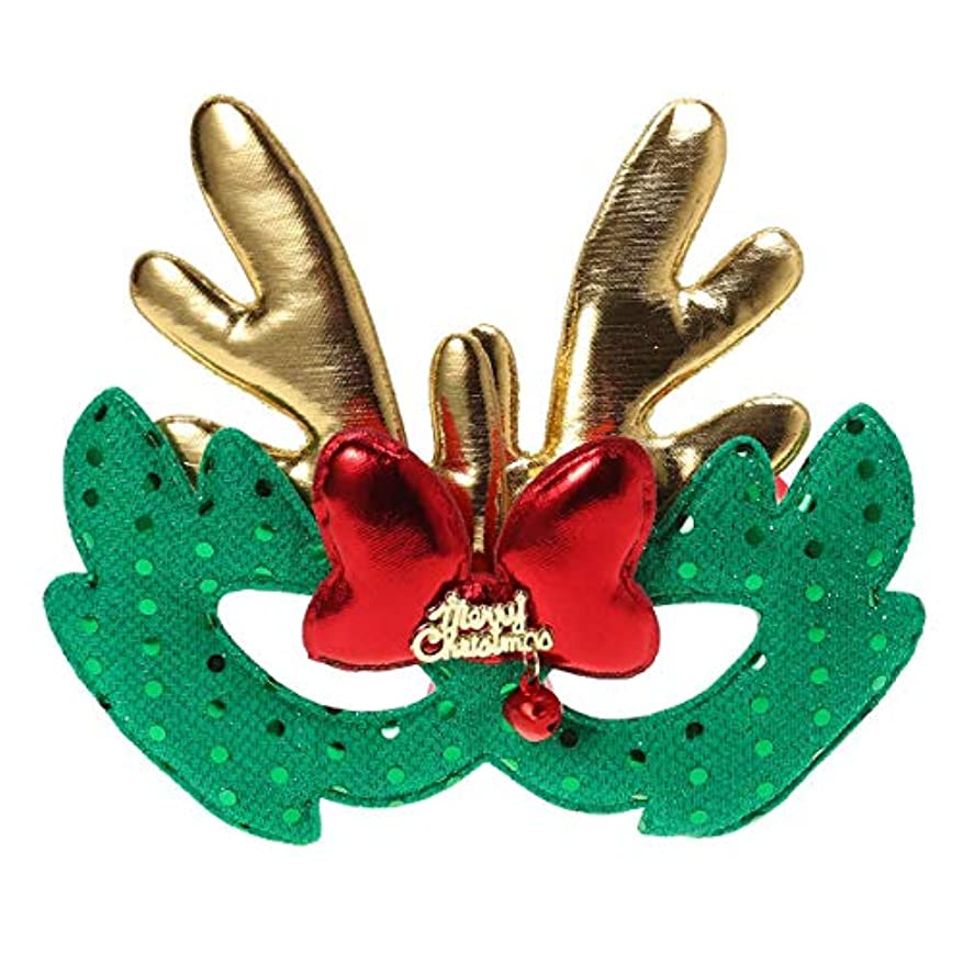 美しい写真脚本BESTOYARD エルククリスマスコスチュームマスク布マスク子供大人コスプレクリスマスパーティーグリーン