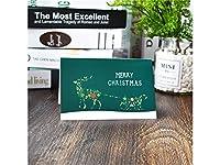 グリーティングカード 1 Pcクリスマス挨拶カードクリスマス祝福カード封筒招待状カードギフトカード(ダークグリーン)