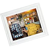 Baoblaze DIY Mini Wooden Dollhouse Model in Photo Frame Miniature Furniture Construction Kits Toy Xmas Gift -Summer Afternoon