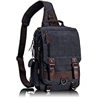 Leaper Canvas Message Sling Bag Outdoor Cross Body Bag Messenger Shoulder Bag (LargeBlack)