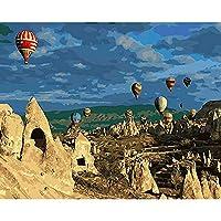 デジタル油絵,トルコ式熱気球景色 Diy の Handpainted デジタルオイル部屋の装飾、フレームなしの生活のために大人が子供の初心者の抽象的なキャンバスの絵画のアートワークのためにペイントしてペイント