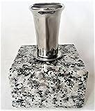 線香立て お墓用 ステンレス製 ネジ式 みかげ石の台座付き(固定済み) お手入れ簡単 置くだけでお墓がグレードアップ 風が吹いても倒れません S01