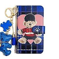 Huawei Nova Lite 2(5) 海外版 手帳型ケース teddybear (タータンブルーテディー) おしゃれ かわいい 送料無料 カード収納 耐衝撃 全面保護 スダンド機能 マグネット 高品質 デコ テディベア ベア くま チェック柄 hug me ハート チャーム付き