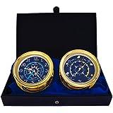 WindlassギフトセットTime & Tide Clock &バロメーターby master-mariner、ゴールド仕上げ、ブルーフラグダイヤル