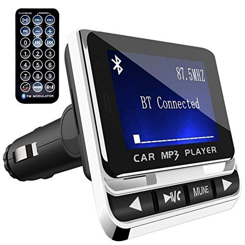 FMトランスミッター TC Bluetooth ワイヤレス 発信機 無線 レシーバー 高音質 TFカード & USBメモリー対応 2.1A出力急速充電USBポート搭載 ハンズフリー通話 カーチャージャー 有線接続「AUX-IN」採用 超大ディスプレイ搭載 日本語説明書付き 一年メーカー質量保証