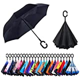CarBoys 逆転傘 逆さ傘 逆折り式傘 自立傘 長傘 手離れC型手元 耐風 撥水加工 晴雨兼用 ビジネス用 車用 UVカット遮光遮熱 傘袋/ケース付き (ブラックの色)