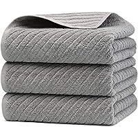 バスタオル 3枚セット グレー TMVOK 綿100% タオル おしゃれ 北欧風 瞬間吸水 速乾 70*140cm 無地 厚手 大判 家庭用、ホテル、業務用、スポーツなどにも最適 四季通用