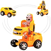 Wishtime 男の子 トミカ 車 ミニカー ミニ飛行機 おもちゃ フリクションカー 頑丈な作り 最大走行距離15m ロボットに変身 車玩具 ギフト 電池不要