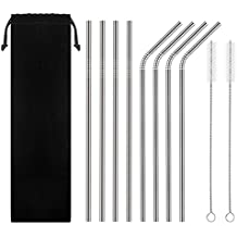 HAHOME FDA-Approved Extra Long 10.5'' Stainless Steel Drinking Straws,Reusable Metal Drinking Straws (4 Straight + 4 Bent + 2 Brushes)