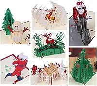 7枚セット クリスマスカード ポップアップ 3D 立体 封筒付き 3D 立体 ポップアップ おしゃれ グリーティングカード