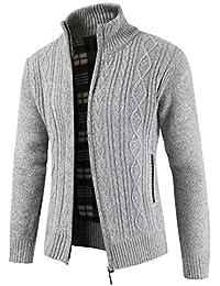 Keaac メンズ冬暖かいジップアップサーマルセータージャケットアウトウェア