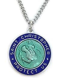 スターリングシルバーセントクリストファーメダルとブルーエナメル境界線とInlay、3 / 4インチ
