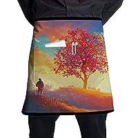 エプロン カフェエプロン ショートエプロン 半身 エプロン 短い ポケット付き 制服 希望の木 美しい風景 男女共用 耐油性 防汚 飲食店 カフェ キッチン サロン 作業用 フリーサイズ