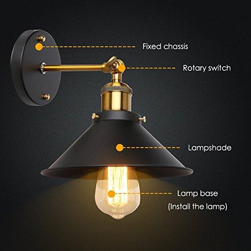 ブラケットライト 壁掛け 照明 レトロ アンティーク スポット ライト E27 口金 (黒)