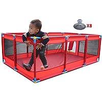 大きな安全なプレイセンターヤードポータブル折り畳み幼児ベビーボーイズ女の子の遊び場屋内屋外ホーム活動エリアフェンス10パネル、赤