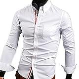 【 スマイズ スマイル 】 Smaids×Smile メンズ 長袖 Yシャツ スリム 襟 付き 柄 ドレス シャツ (ホワイト M)