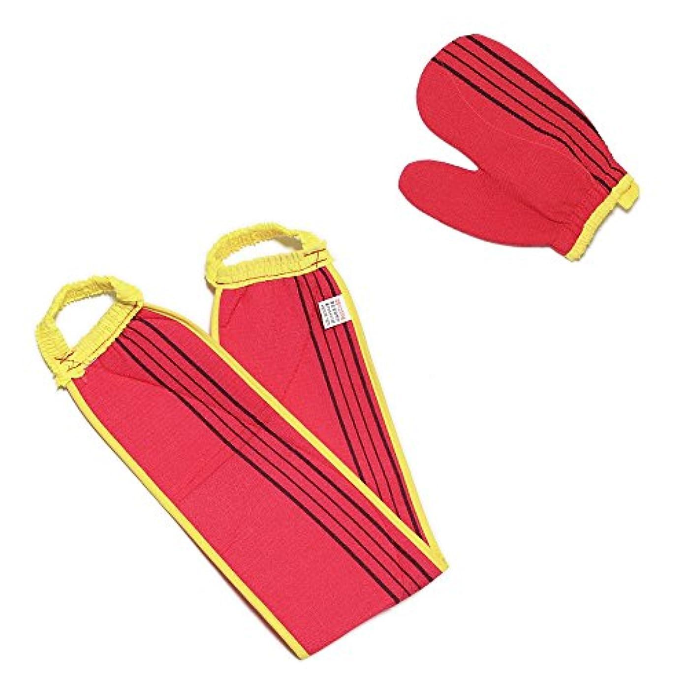 単調な広々確実(韓国ブランド) スポンジあかすりセット 全身あかすり 手袋と背中のあかすり 全身エステ 両面つばあかすり お風呂グッズ ボディタオル ボディースポンジ (赤色セット)
