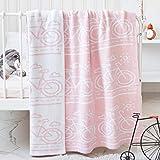 "Homiest Bike Baby Blanket Bike Swaddle Blanket Knit Bicycle Baby Blanket for Infant Boys Girls Cribs, Strollers, Nursing, Cotton, Pink, 35""x43"""