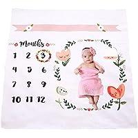 FIOKASO Baby Monthly Newborn Milestone Blanket Frame Photo Props for Babies Boy Girl Newborn Swaddling Blanket for Photography 40X40 [並行輸入品]