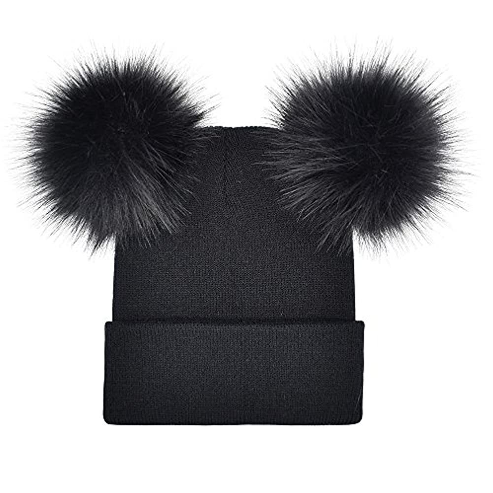 Racazing Hat 選べる6色 編み物 縮らす ニット帽 ヘアボール 防寒対策 通気性のある 防風 ニット帽 暖かい 軽量 屋外 医療用帽子 スキー 自転車 クリスマス Unisex Cap 男女兼用 (ブラック)