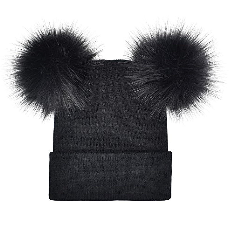 コンパクトビジュアルスープRacazing Hat 選べる6色 編み物 縮らす ニット帽 ヘアボール 防寒対策 通気性のある 防風 ニット帽 暖かい 軽量 屋外 医療用帽子 スキー 自転車 クリスマス Unisex Cap 男女兼用 (ブラック)