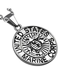 Stainless Steel Silver-Tone United States Army Eagle Marine Corps Pendant Necklace