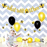What Will It Bee Banner, Bumble Bee Baby Shower Banner Gender Reveal Party Decorations