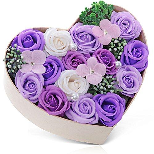バラ型ソープフラワー ハートフラワー形状ギフトボックス 誕生日 母の日 記念日 先生の日 バレンタインデー 昇進 転居など最適としてのプレゼント