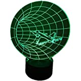 時間飛行機航空機形状LED夜ランプ3d効果のUSBテーブルランプ子供のベッドルーム装飾Bulbing Lamp