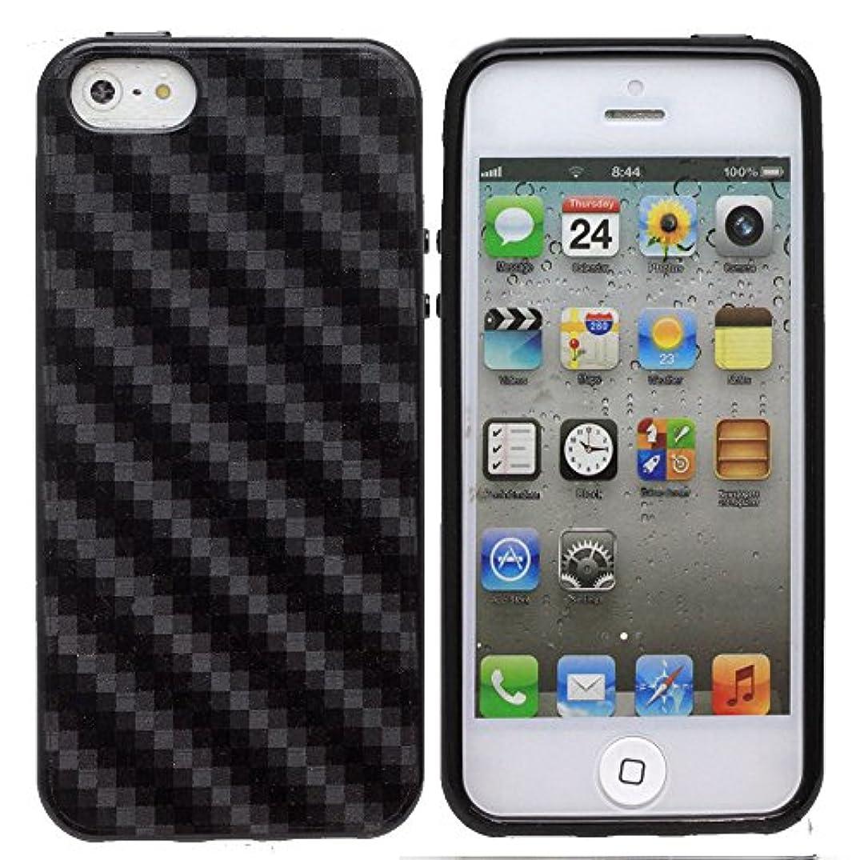 現金方言効果的グロスデザイン?カーボンデザイン TPUソフトケース (iPhone5 iPhoneSE, ブラック)