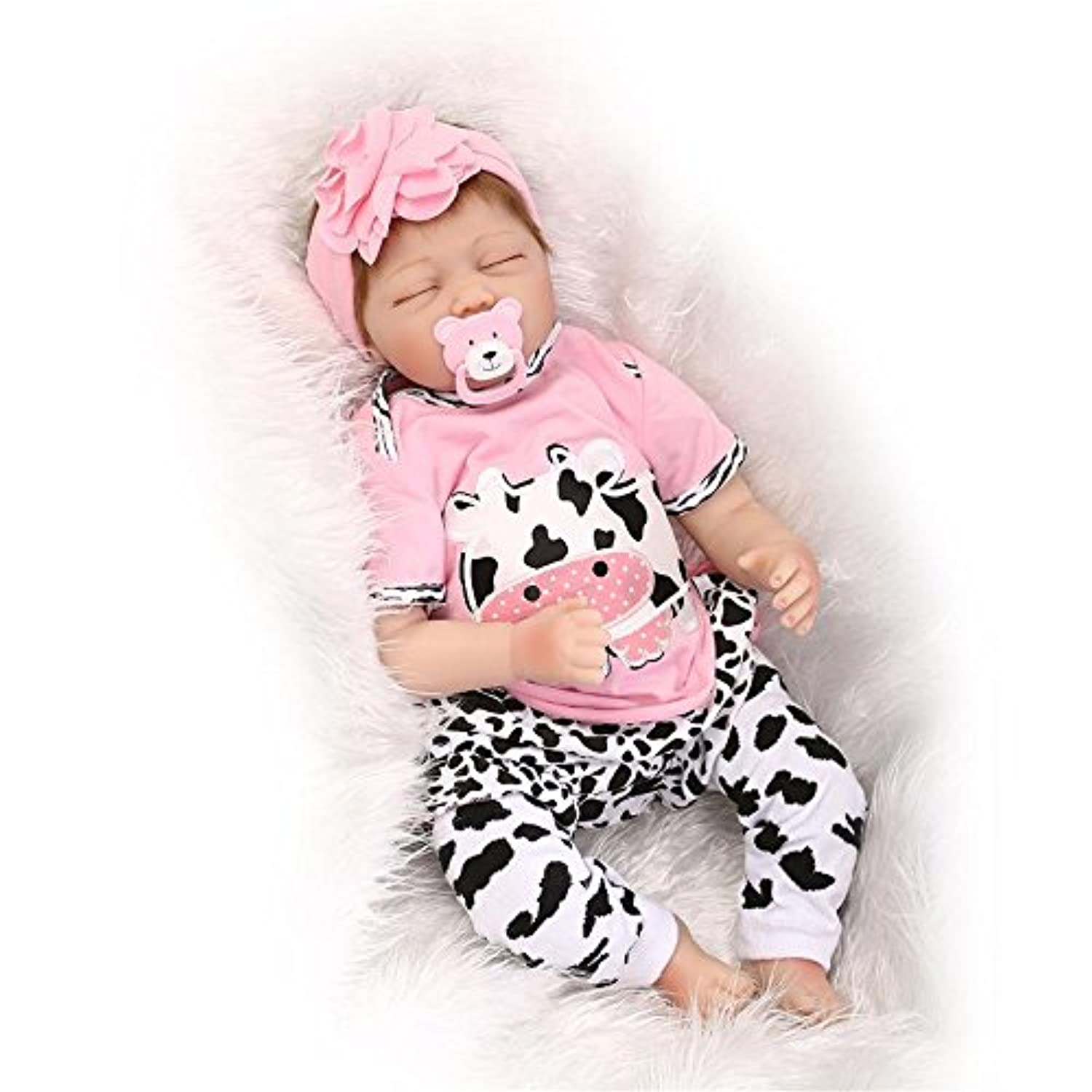 Reborn Baby Doll Realistic Baby-Soft Vinyl Silicone Preemie Toy For DINK Families and Seniors, 60cm Lifelike Baby Girl with Pink Cow Clothes, Great Toy For Adults, Kids and Babies