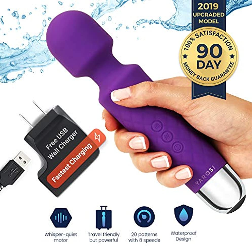 クモトン高尚なジャロシのコードレスワンドマッサージャー - 振動のための最も強力な治療 - 旅行の贈り物に適して - 魔法の圧力の目覚め - 筋肉のアーチやパーソナルスポーツの回復に最適 - USB - ミニ - パープル