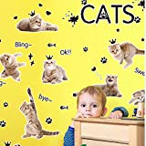 CELINE (ブルック&セリーヌ)Brooke & Celine ウォールペーパー 壁飾り 多くの猫 ウォールシール ベッドルーム 剥がせる 壁紙 居間 子供部屋壁飾り