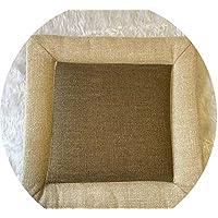 綿とリネンクッション クッションシンプルウインター畳クッション粗布クッションオフィスクッション学生クッション布団,ベージュサイドブラウン,40×40cm