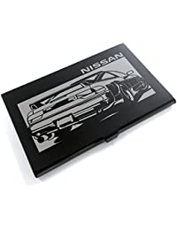ブラックアルマイト「日産(NISSAN) 180SX 前中期」切り絵デザインのカードケース[CC-105]