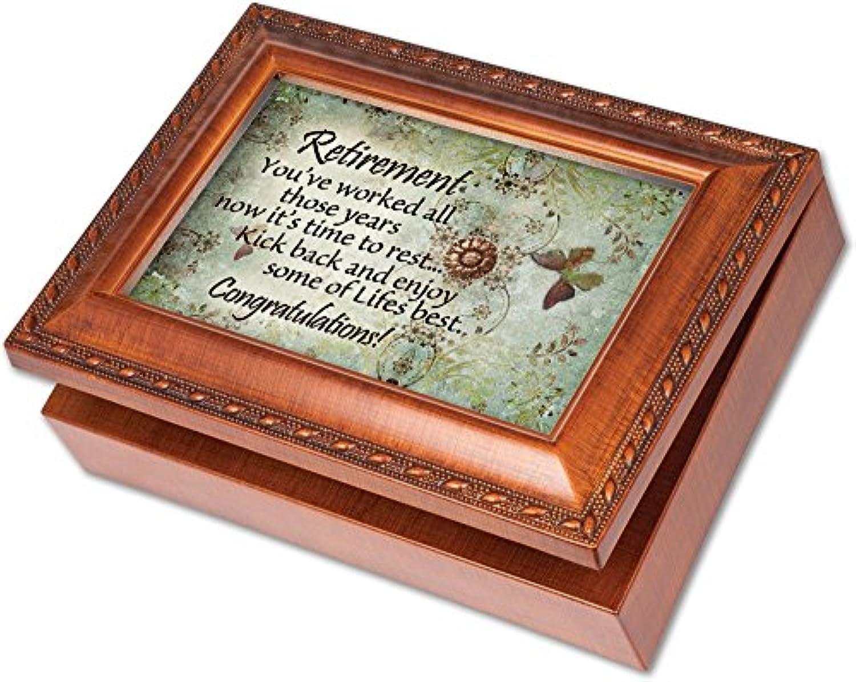 Cottage Garden Retirement Woodgrain Music Box / Jewelry Box Plays Wonderful World by Cottage Garden