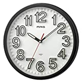 MAG(マグ) 掛け時計 アナログ プレスプル 直径約29cm 連続秒針 立体文字盤 ブラック W-728BK-Z