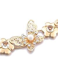 GRALARA女性 蝶 クリスタル 金属 チェーンベルト ウエストベルト ゴールド 112cm