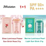 JM Solution ★1+1★ Glow Luminous Flower Sun Stick Rose 21g + Marine Luminous Pearl Light Sun Stick 21g / 光る輝く花Sun...