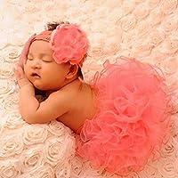 conmingかぎ針編みニットコスチュームキュートなハンドメイド美しいスカート新生児0~ 3ヶ月ベビー女の子快適な衣装ソフト糸かぎ針編みコスチューム写真写真プロップ衣装–ピンク