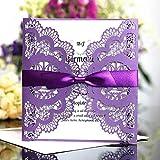 Personalised Lace Romantic Satin Ribbon Wedding Invitation Card Wedding Birthday Christening Party Invitation