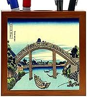 Rikki Knight Katsushika Hokusai Art Fuji Seen Through the Mannen Bridge Design 5-Inch Wooden Tile Pen Holder (RK-PH3227) [並行輸入品]