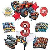Mayflower Products Blaze and The Monster Machines 3歳の誕生日パーティー用品 8つのゲストデコレーションキットとバルーンブーケ