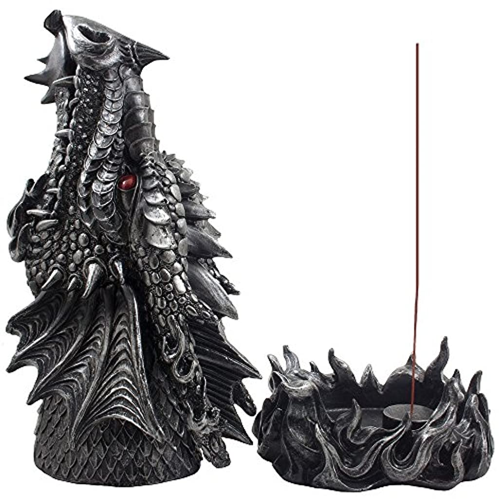 Mythical Fire Breathing Dragon Incense Holder & Burner Combo Statue for Sticks or Cones with Decorative Display...